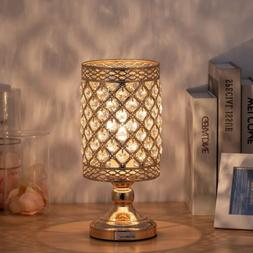 Gold Bedside Table Lamp Hanging Clear Crystal Lamp Shade Dec