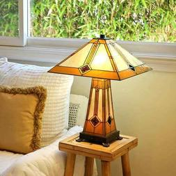 Golden Mission Table Lamp with Lit Base