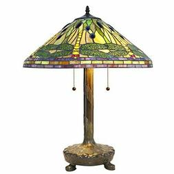 "Green and Yellow Dragonfly Tiffany Style Table Lamp 20"" Shad"