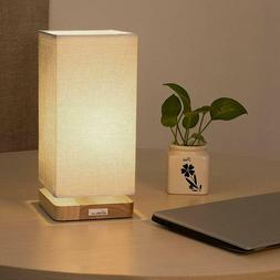 HAITRAL Simple Style Wooden Desk Light Bedside Table Lamp wi