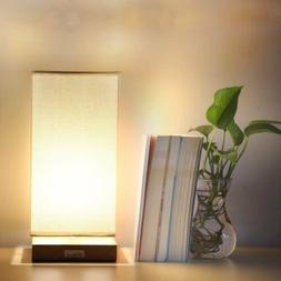 HAITRAL Bedside Table Lamp Wooden Table Light for Living Roo