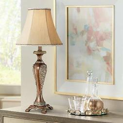 Hanna Bronze Candlestick Table Lamp with Table Top Dimmer