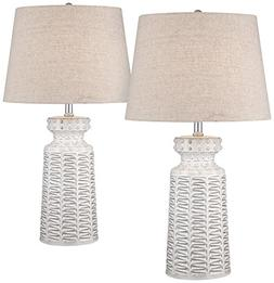 Helene White Glaze Ceramic Table Lamp Set of 2