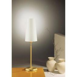 Holtkotter Incandescent Table Lamp, Brushed Brass/Narrow Whi