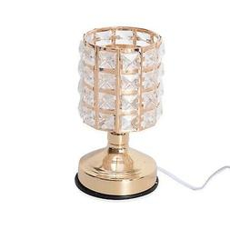 3 Stage Touch Dimmer Goldtone Glass Shape Table Lamp Bulb In