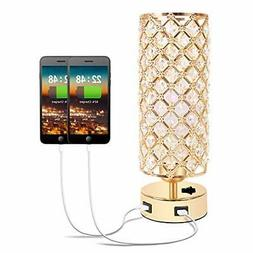 Hong-in Gold Crystal Table Lamp with Dual USB Charging Ports
