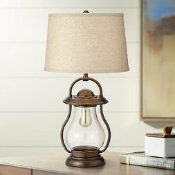 Industrial Farmhouse Table Lamp with Nightlight LED Bronze L