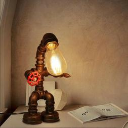 Industrial Iron Pipe Steampunk Table Lamp Vintage Robot Desk