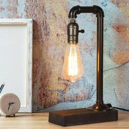Industrial Retro Table Desk Lamp Steampunk Pipe Beside Night