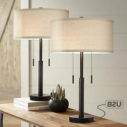 Industrial Table Lamps Set of 2 with USB Rich Bronze for Liv