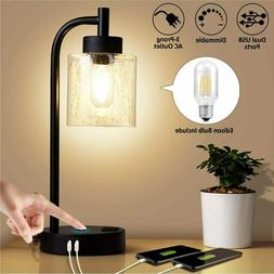 ZEEFO Industrial Touch Lamps, Dimmable Table Lamp Built-in D