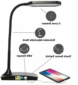 TW Lighting IVY-40BK The IVY LED Desk Lamp with USB Port, 3-