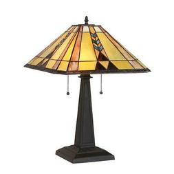 """KENT Tiffany-style 2 Light Mission Table Lamp 16"""" Shade"""