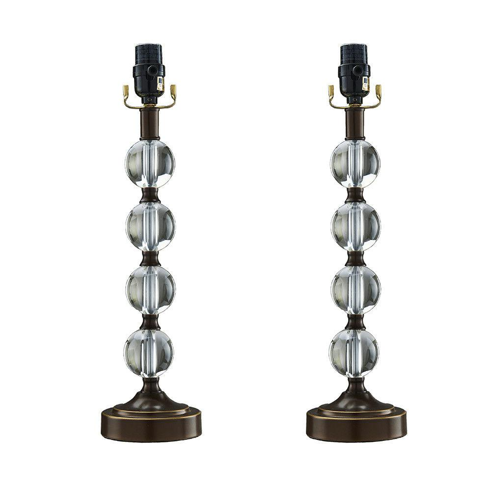 18 stacked glass ball table lamp base