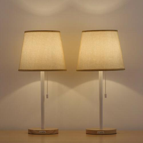 2 Colors Bedside Lamp 2 Pack  Modern Table Lamps Wood Base H