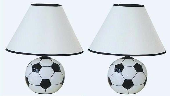"2 LAMP SET  15"" CERAMIC SOCCER BALL SPORTS TABLE LAMPS"