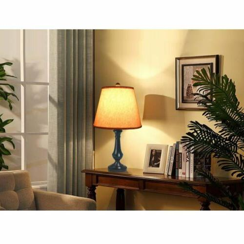 2 pcs/set Table Lamp Desk with Linen Drum Shade living