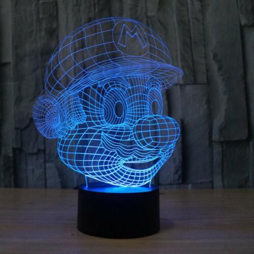 3D Mario Night Light Color Touch Switch Lamp