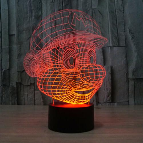 3D Night Light 7 Touch Table Lamp Xmas Gift