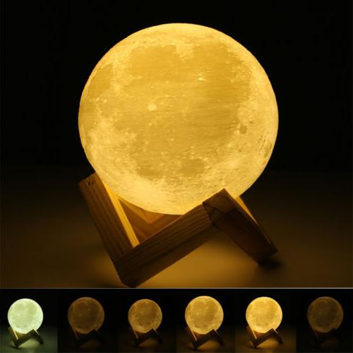 3D USB Moon Light Touch LED Night Light Table Desk Moon Lamp