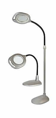 OttLite 43828C 2-in-1 LED Magnifier Light Floor and Table La