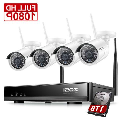 ZOSI 4CH 960P Outdoor Wireless Security Camera System 1080p