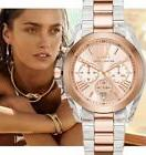 NEW MICHAEL KORS ROSE GOLD CLEAR BRADSHAW TWO TONE CHRONOGRA