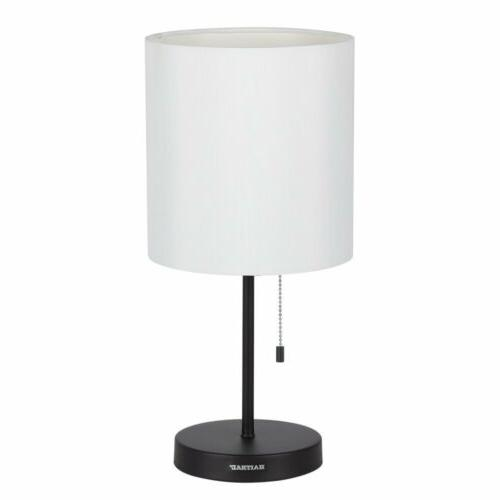 HAITRAL Table Metal base Fabric Lamp Night for