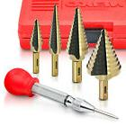 Step Drill Bit Set 5 PC | High Speed Steel W/ Automatic Cent