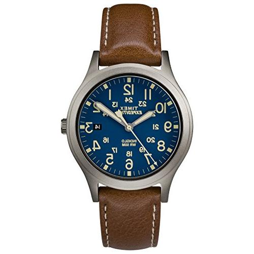 "Timex TW4B11100, Mid-Size ""Expedition"" Brown Leather Watch,"