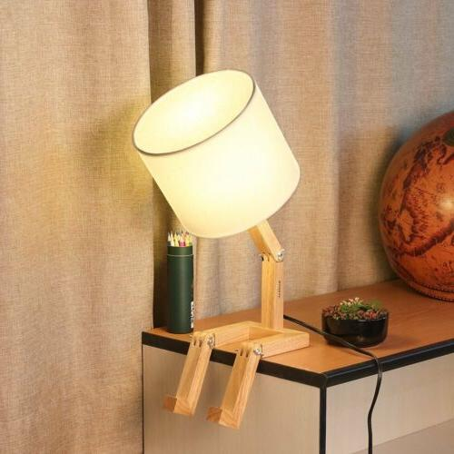 HAITRAL Creative Table Lamp White Fabric Shade Natural
