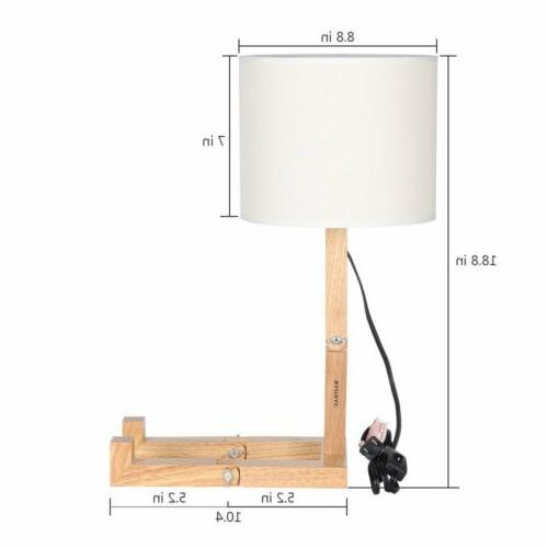 HAITRAL Adjustable Table Lamp With Shade Natural Wood