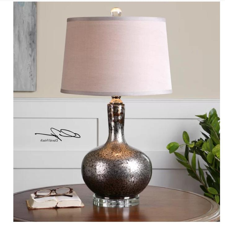 "Aemilius Mercury Silver/Gray Glass Table Lamp 27""H by Utterm"