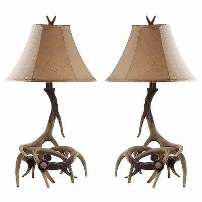 Antler Table Lamps Set 2 Shades Light Rustic Lodge Cabin Lig