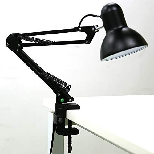 Architect Table Swing Arm Lamps Heavy Base with Mount, lamp for Studio/Office Study, Black