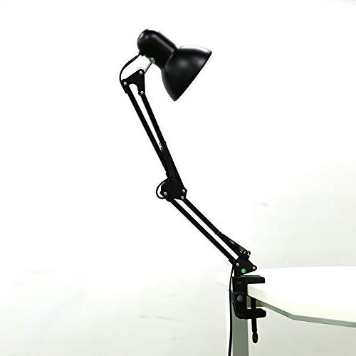 Architect Table Lamp, Swing Arm Base Mount, Metal lamp for Study, Black