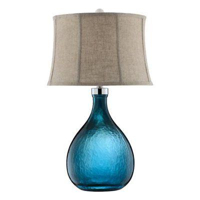 Ariga 29 H Table Lamp with Bell Shade, Contemporary, Blue, B