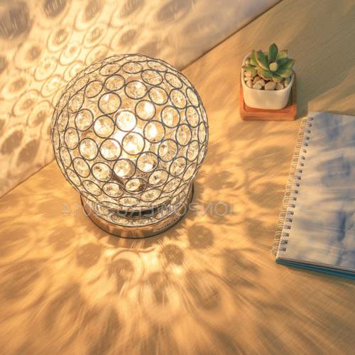 HAITRAL Ball Crystal Table Lamp Decorative Nightstand Desk L