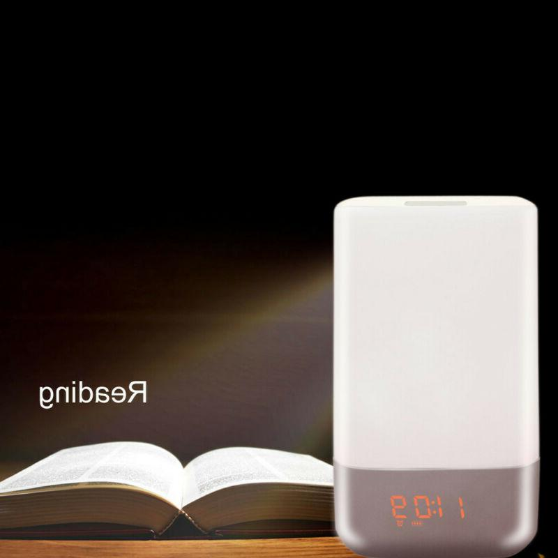 Bedside Touch Sensor Table Lamp Clock Dimmable Changing Smar