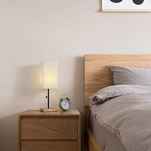 HAITRAL Bedside Table Lamp - with Wooden Cream Lamp Shade, Japanese-Style Modern Desk for Living Room, Dorm