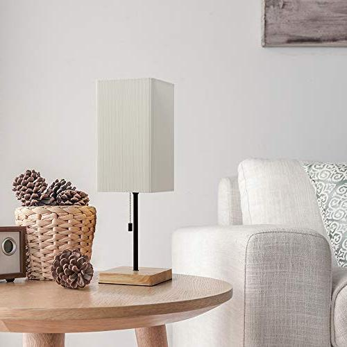 HAITRAL Table Lamp - with Wooden Lamp Shade, Desk Living Office, Dorm