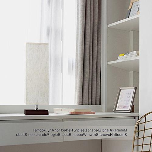 Aooshine Bedside Small, Bulbs Included, Minimalist Solid Table Fabric Brown