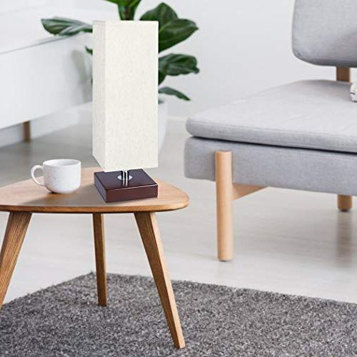 Aooshine Table Lamp Small, Included, Minimalist Table with Fabric Shade Brown Wooden