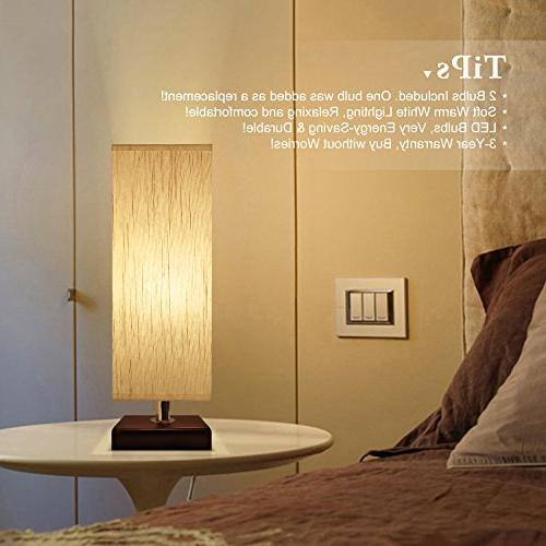 Aooshine Bedside Lamp Small, 2PCS Included, Solid Wood Table Lamp Square Fabric Shade