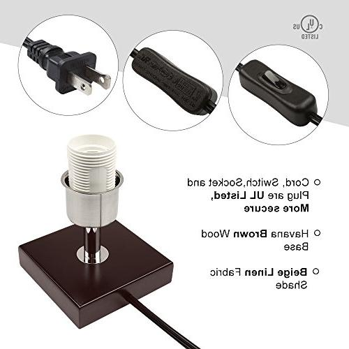 Aooshine Small, Bulbs Included, Minimalist Table Fabric Brown Wooden