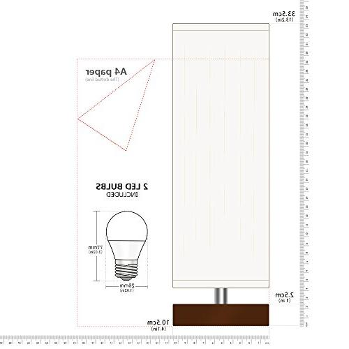 Aooshine Small, 2PCS LED Included, Minimalist Solid Table with Square Brown Wooden