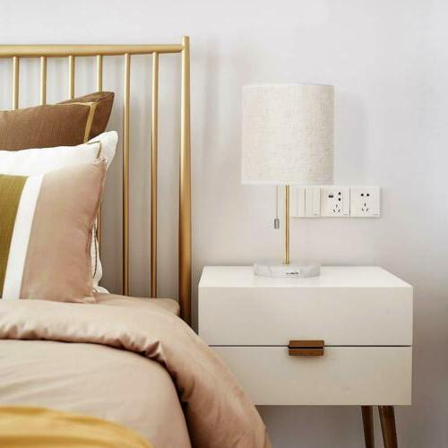 Modern Table Lamp Marble Base Fabric