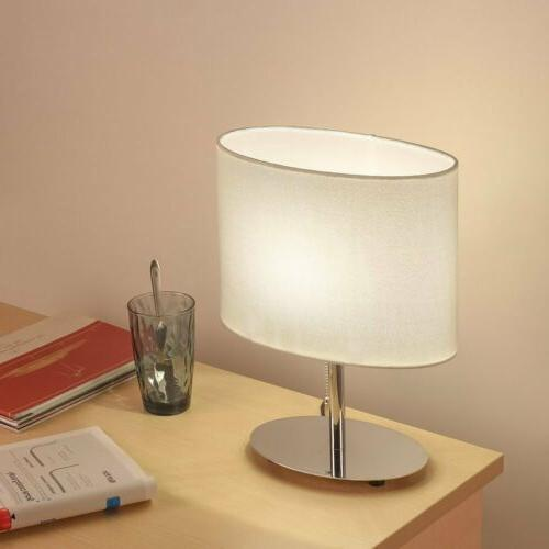 Table Lamp Metal nightstand Lamp with Fabric Shade Bedroom L
