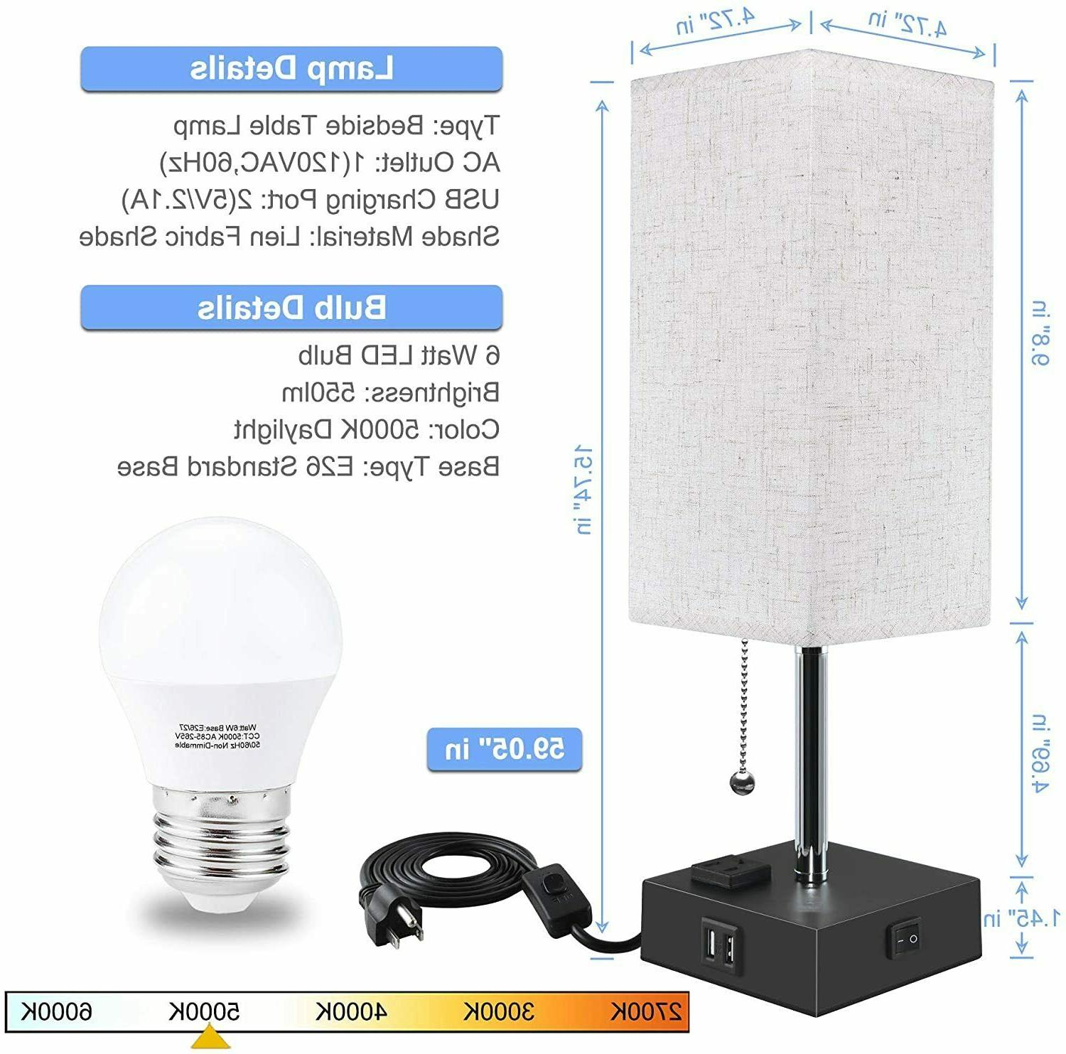 Bedside Table Lamp, Lamp for Bedroom Daylight