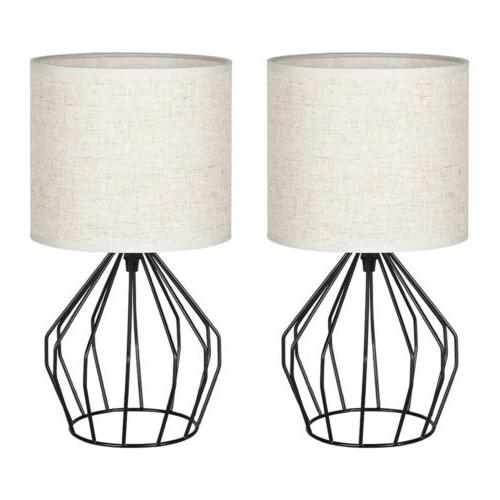 Bedside Table Lamps Modern with Linen Fabric